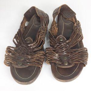 Frye Womens Open Toe Brown Leather Boho Sandals